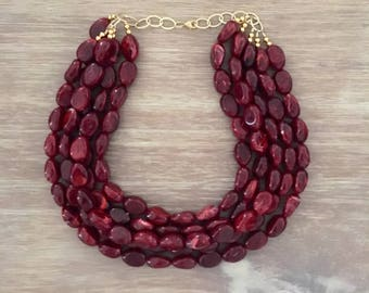 Red Bead Necklace – Chunky Beaded Necklace Handmade in Crimson Red Beads, Spring 2018 Fashion