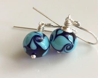 Cobalt Blue and Turquoise Lampwork Glass Earrings      Sterling Silver Earrings