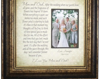 Parents of The Bride Gift, Gift for Brides Parents, wedding cake toppers, Personalized Wedding Gift for Mom and Dad, 16x16