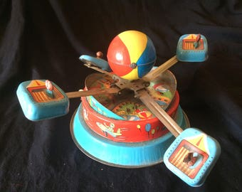 Vintage Tin Toy, Wind Up Toy, Turning Carousel, Carnival Ride - 1970