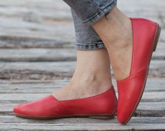 Red Leather Shoes, Red Shoes, Red Loafers , Flat Shoes, Coral Shoes, Red Slip Ons , Free Shipping