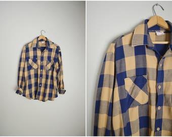 vintage 70s blue tan big mac plaid buffalo plaid shirt heavy duty guys shirt -- mens xlarge