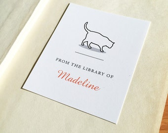 Cat Bookplates, Cat Line Drawing, Personalized Bookplate, Cat Lover Gift, Custom Book Labels, Hostess Gift, Book Club Gift, Set of 12