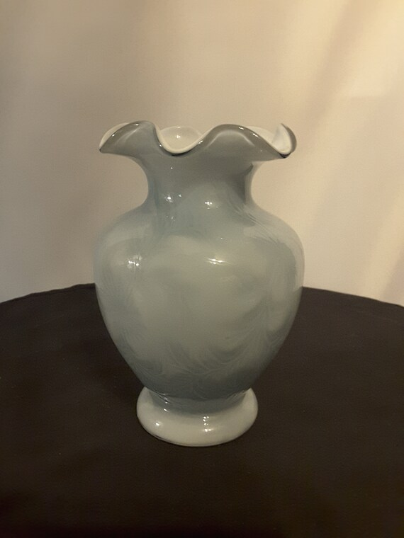 Vintage Fenton Vase In Blue Fenton Skye Blue Vase With Stamp