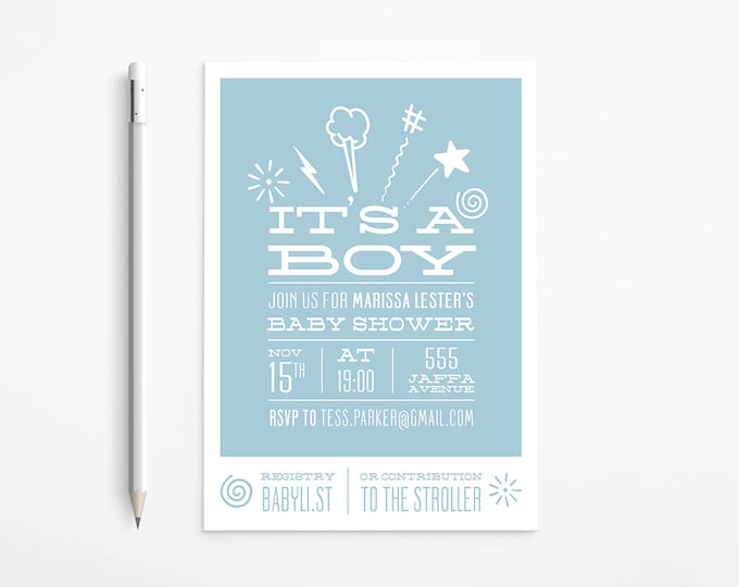 PRINTABLE - Light Blue Baby Shower Invitation - Boy - Grey - White - Simple - Free changes