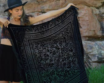 Vintage Black Silk Velvet Burnout Scarf Square Headwrap Shawl