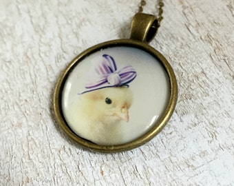 Chicken in A Purple Ribboned Hat Chicks in Hats Necklace Baby Animals Jewelry
