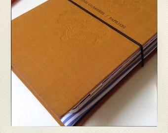 Buldori altered book - yellow ochre Organizer kit + notebooks - traveler notebook - Bullet journal - fauxdori - midori - bujo