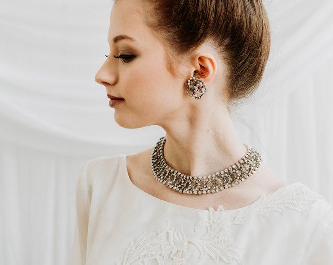 Vintage 1950s Kramer Rhinestone Necklace and Earrings Set