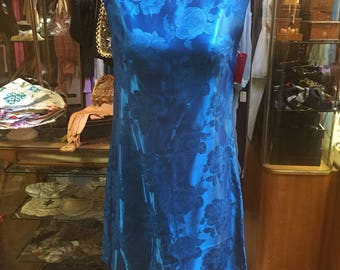 Quite adorable electric blue satin brocade mini dress of the 1960s