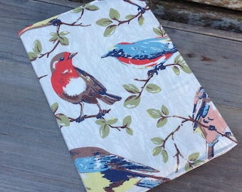 A5 bird fabric covered notebook with lined paper