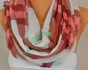 Mother's day gift,Brown&Pink White Plaid Cotton Scarf,Soft,Tartan Scarf,Birthday Gift,Cowl,Oversized Gift For Her, Women Fashion Accessories