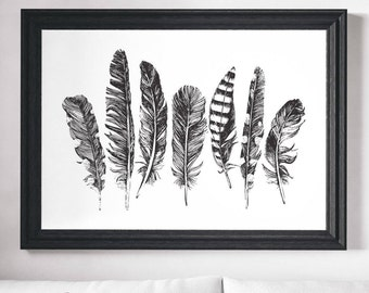 Feather Print, Wall Art, Minimalist Print, Black White Print, Black White Art, Feather Art, Minimalist Art, Scandinavian Print, Modern Art