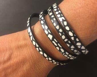 Leather Wrap Bracelet - Black and White Pebble Print - Double Wrap Bracelet