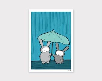 Bunnies in the Rain Print