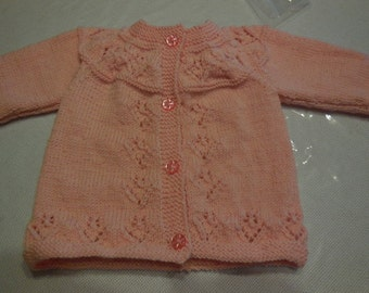 PRETTY baby coat color hand knitted pale pink - days at the bottom front, sleeves and yoke.