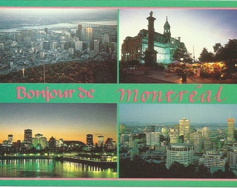 Vintage 1980s Postcard Montreal Quebec QC Canada Olympic City Downtown Aerial l'Hotel de Ville Multiview Card Photochrome Postally Unused