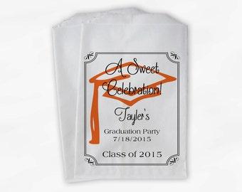 Graduation Favor Bags - 2018 Sweet Celebration Party Custom Favor Bags - Set of 25 Black and Orange Paper Treat Bags (0076)