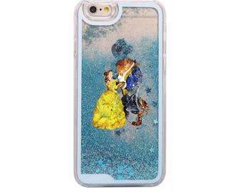 Glitter Liquid Watercolor Tinkerbell Little Mermaid Peter Pan beauty and the beast Cinderella Phone Case iphone X 8 7 plus 6 6S 6plus 5S SE