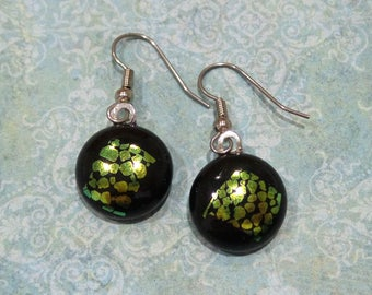 Black and Gold Dichroic Earrings, Dangle, Hypoallergenic Earrings, Yellow Gold Dichroic Fused Glass Jewelry, Ready to Ship - Dolcie -7