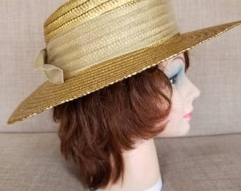 """Vintage Women's Broad Brimmed Gold Straw Hat """"Italy"""""""
