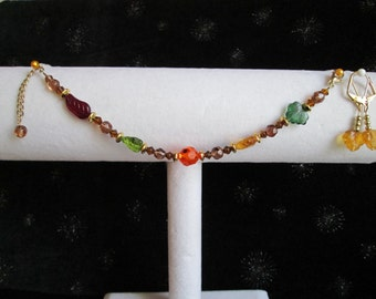 Fall Colored Leaves Beaded & Gold Bracelet and Earring Set #1