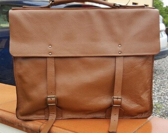 Leather bag-computer bag-travel bag-Italian leather cappuccino completely handmade.
