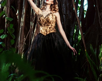 Gold Gilded Feather Corset Bustier Top