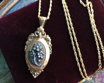 French Flower Locket Necklace - Enamel Locket - Raised Design - 1900's Locket - Gold Filled Locket - Wedding Locket - Vintage Jewelry