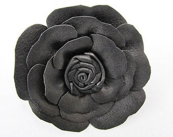 Black leather rose flower corsage, brooch pin, hair clip, black shoe flowers, goth corsage, mens lapel pin,boutonniere,black flower brooch