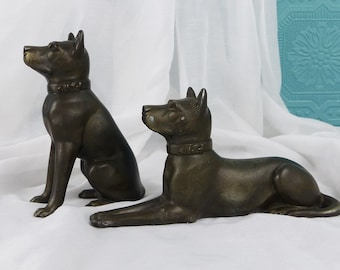French Statuettes of Dogs - Two Bronzed Dog Statues - Figures of Dogs - Cast Dog Sculptures - French Spelter Dog Figures - Dog Lovers Gift