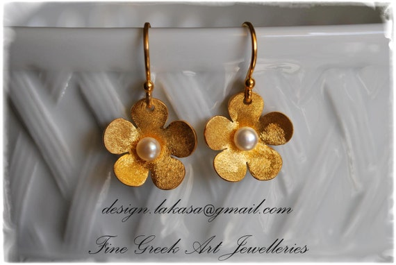 Flower Earrings Sterling Silver Gold plated Handmade Jewelry Freshwater Pearl Woman Mother Best gift for her Floral Design Greek Art Moda