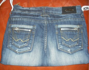Blue Denim wash with zippered pockets, fully lined purse