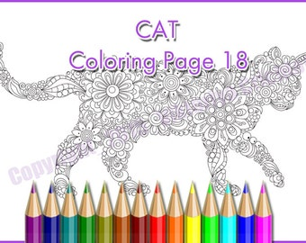 CAT coloring page, zentangle (zendoodle) pattern, printable art original, PDF
