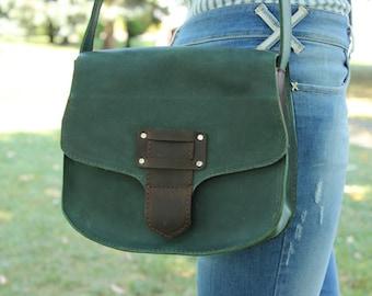 Leather crossbody bag, Green leather handbag, Shoulder bag for woman, Women Bag, Leather satchel, Gift for her