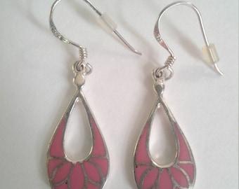 Sterling Silver Floral Tear drop Earrings