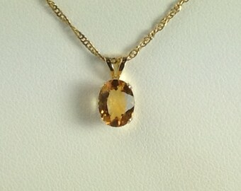 Citrine 14K Yellow Gold Pendant