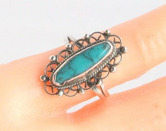 Vintage Turquoise Sterling Ring Silver Ring Vintage Native American Long Oval Filigree Size 4 Ring