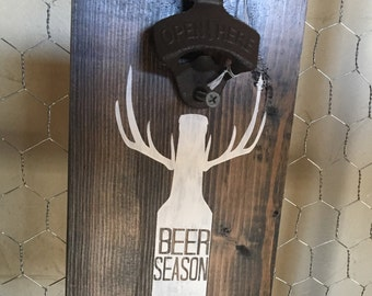 BEER BOTTLE OPENER -  Wall Mount Opener - Deer Season - Man Cave Decor - Groomsmen Gift - Beer - Wedding Favor - Hunting Decor -Deer Hunting
