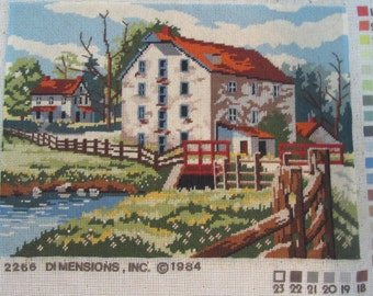 finished needlepoint picture, ready to be framed or turned into a pillow