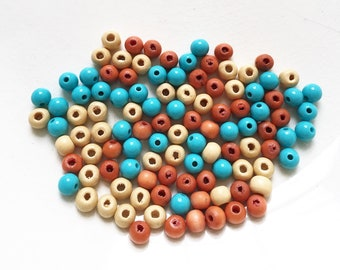 summer coral orange and creme wood and turquoise blue acrylic salvaged recycled beads--mixed lot of 100+