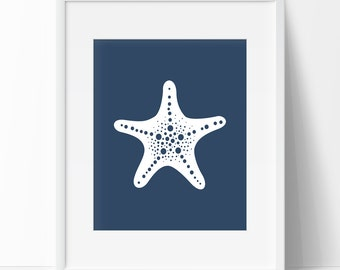 Navy Blue Starfish, Nautical Print, Printable Art, Starfish Print, Starfish Art, Wall Prints, Nautical Art, Navy Blue Starfish Art