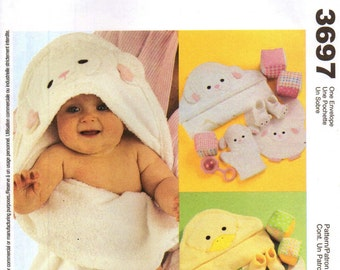 McCall's 3697 BABY'S NECESSITIES Hooded Towels Mitts Bibs Booties Play Blocks