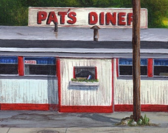 Pat's Diner Art Print from Diner Painting - Limited Edition Giclee Print by Debbie Shirley