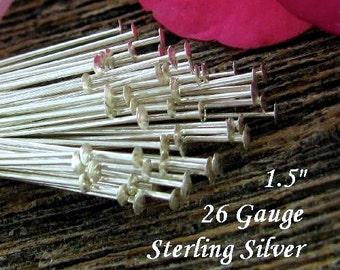 Sterling Silver Head Pins -  Flat Headpins  26 Gauge Thin  - 1.5 inch 37mm  50 Pins - Oakhill Silver Supply HP2a