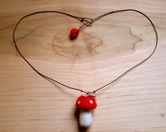 A Mushroom Necklace with a dragonfly - nature inspired kids gift