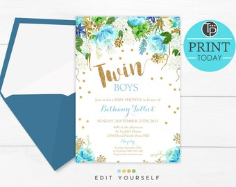 Twin baby shower invitation etsy twin boys baby shower invitation instant download twins baby shower invitation boy baby shower invitation blue floral baby shower filmwisefo