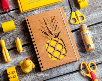 Pineapple Spiral Notebook / Yellow Notebook with Pineapple Art / Pineapple Lover Gift / Cute Yellow Journal / Colourful Spiral Notebook