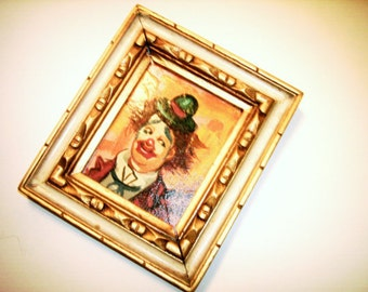 Clown Oil Painting Vintage French Artist Mathiel Happy Hat Costume Clown Picture Wood Carved Design Frame Decorative Picture Frame Vintage