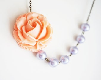 Statement Necklace Coral Necklace Lilac Necklace Bridesmaid Jewelry Bridesmaid Set Bridesmaid Gift Pearl Necklace Wedding Necklace Gift
